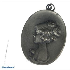 Vintage 1950's Pewter Pendant Cameo Lady Profile